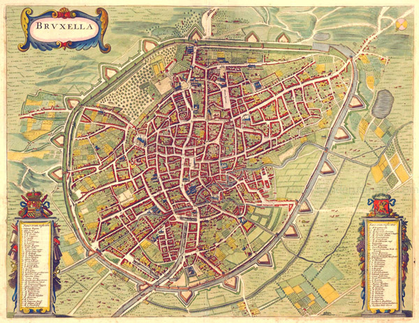 Large detailed old map of Brussels city 1657.
