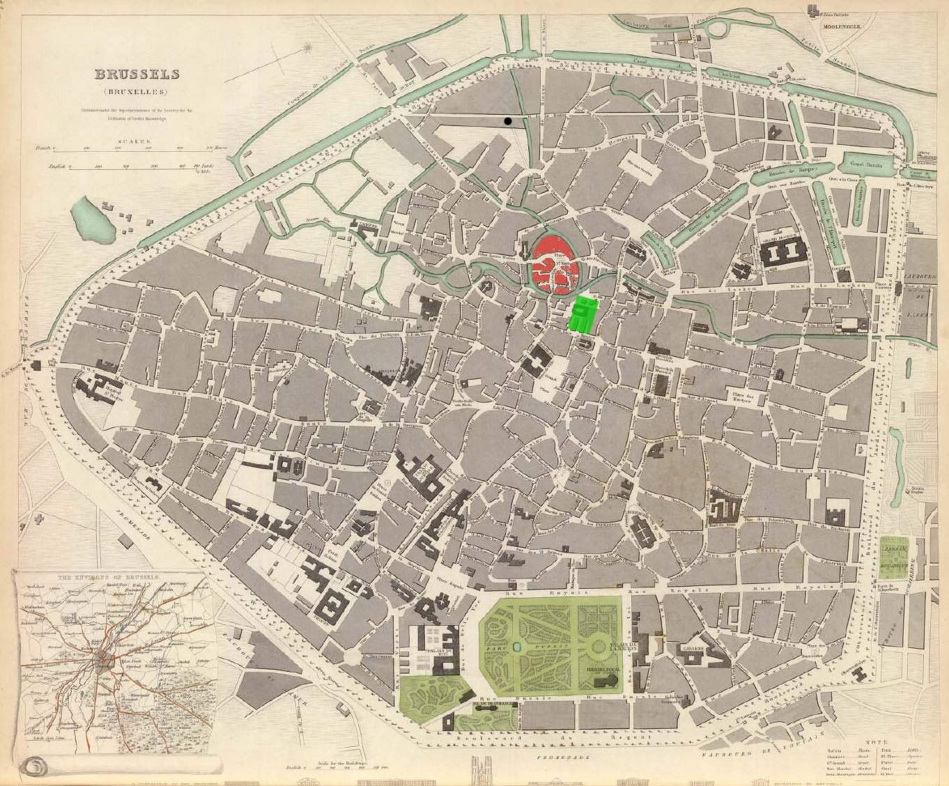 Large detailed old map of Brussels city 1837. Brussels city large ...