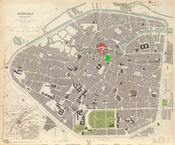 Large detailed old map of Brussels city 1837.
