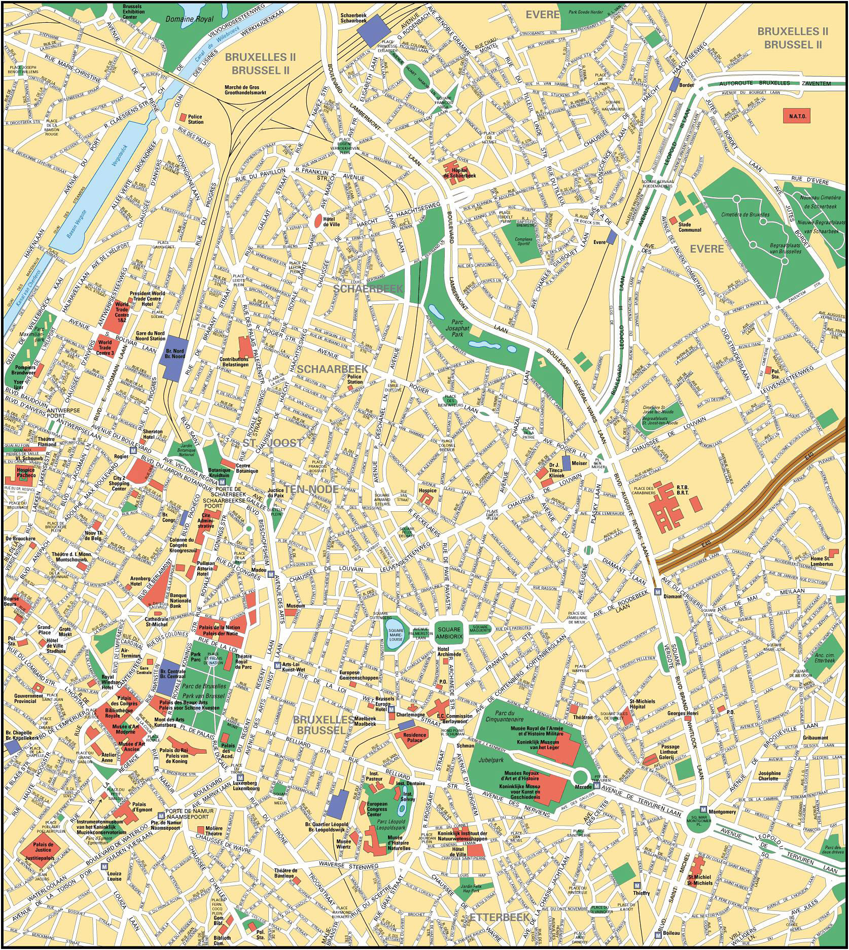 Large detailed road map of Brussels city center Brussels city – Belgium Road Map