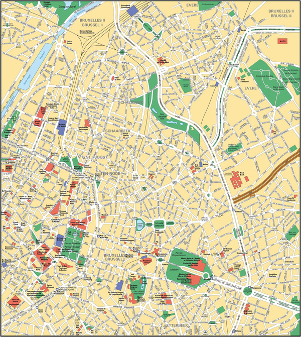 Large detailed road map of Brussels city center.