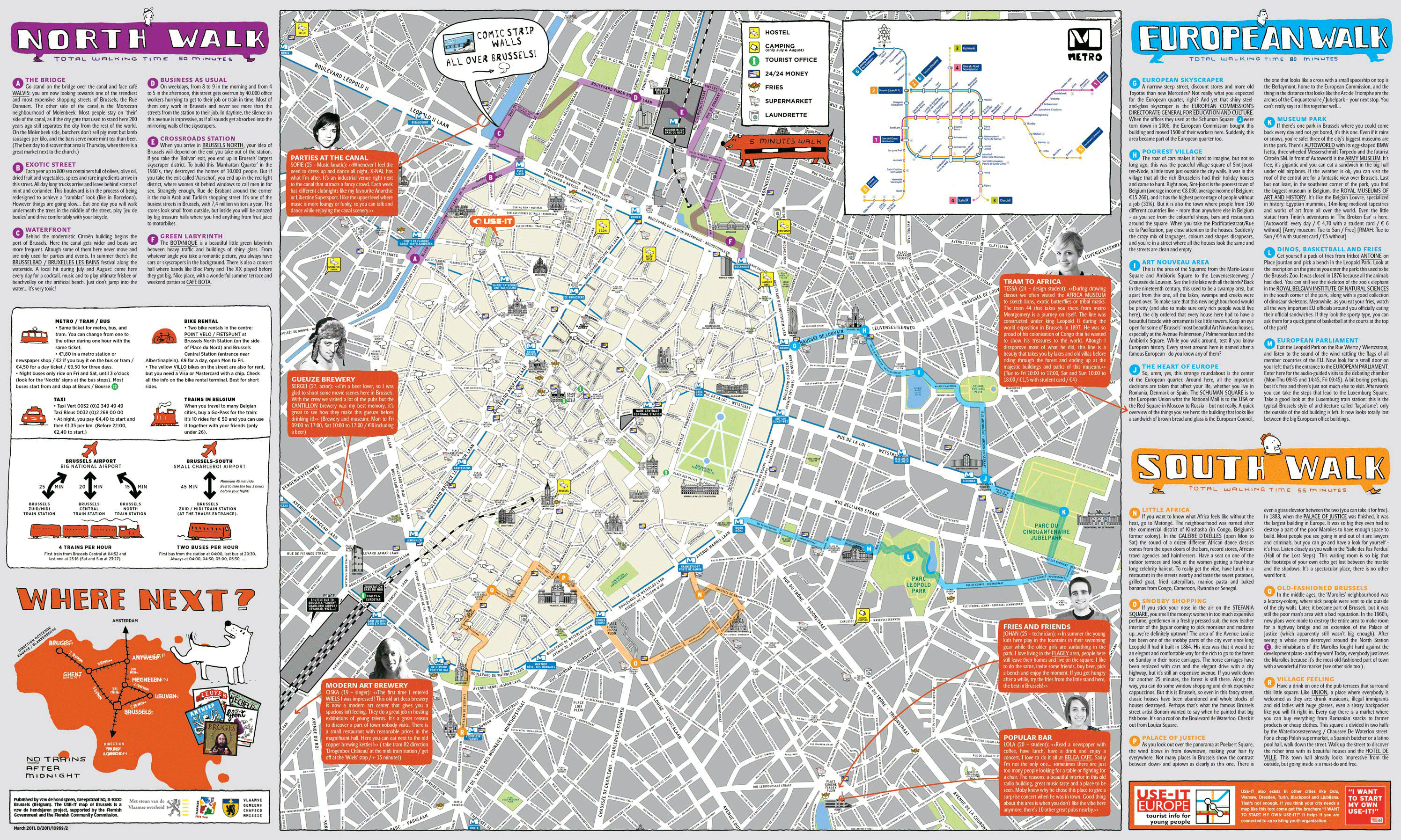 Large detailed tourist map of Brussels city center. Brussels city ...