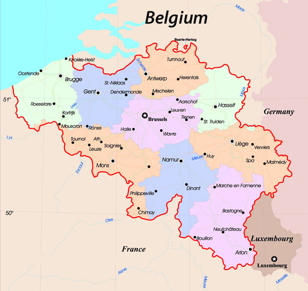 Detailed administrative map of Belgium.