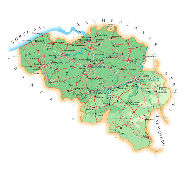 Detailed physical map of Belgium with all roads, cities and airports.