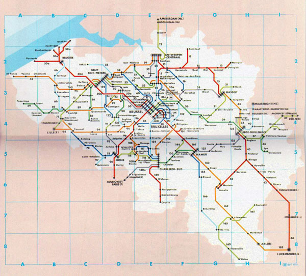 Detailed public transport map of Belgium. Belgium detailed public transport map.