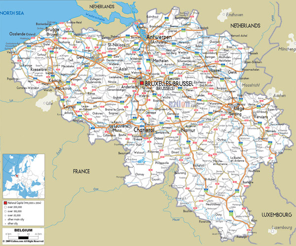Detailed road map of Belgium. Belgium detailed road map.