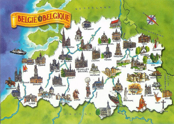 Detailed tourist map of Belgium. Belgium detailed tourist map.