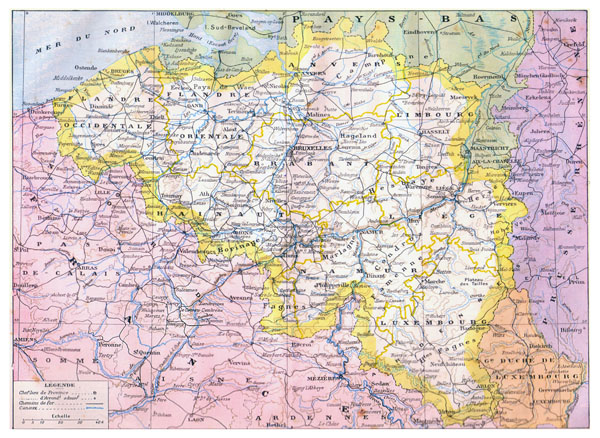Large detailed old administrative map of Belgium - 1910.
