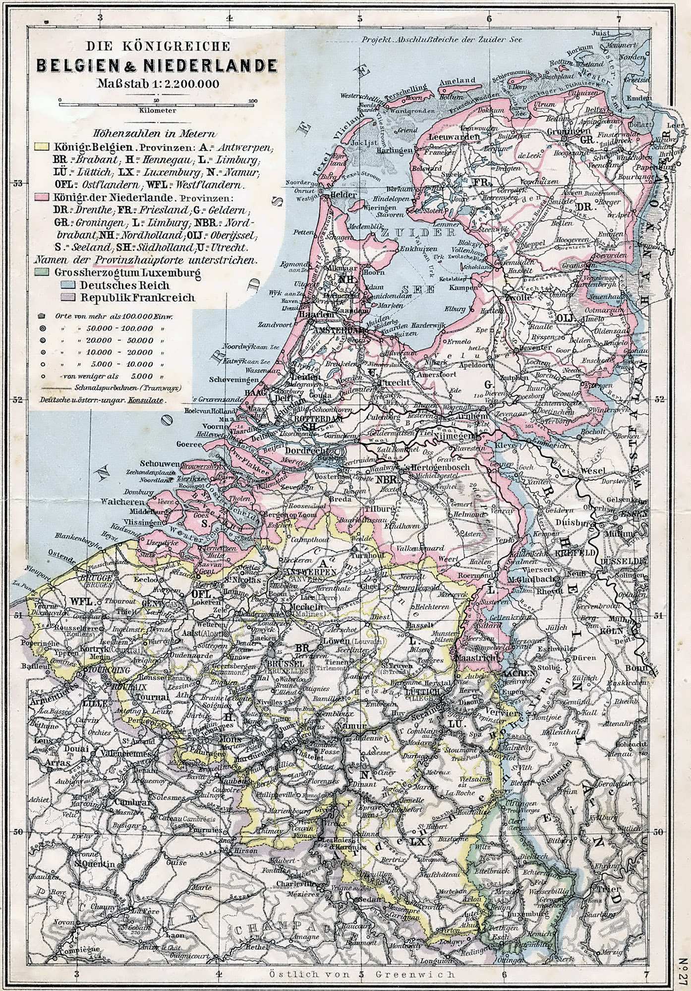 Large detailed old political map of Belgium and Netherlands 1905