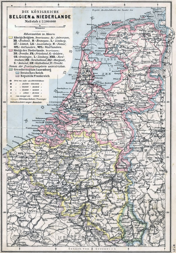 Large detailed old political map of Belgium and Netherlands - 1905.