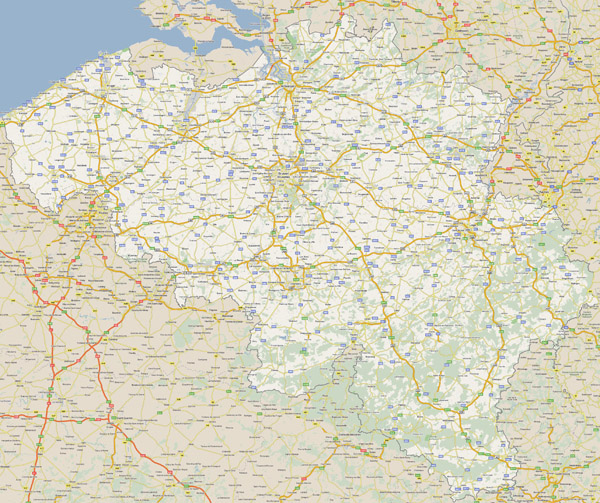 Large detailed road map of Belgium with all cities.