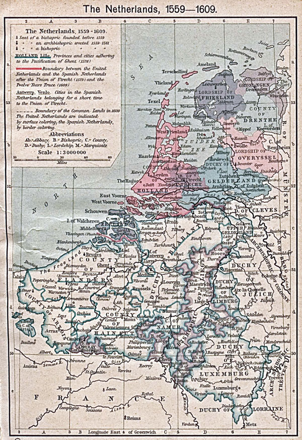 Large old map of Netherlands and Belgium - 1559-1609.