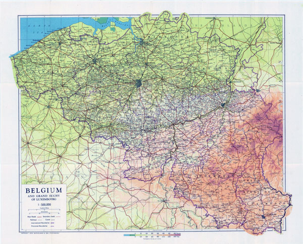 Large scale old map of Belgium - 1944.