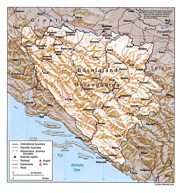 Administrative and relief map of Bosnia and Herzegovina.