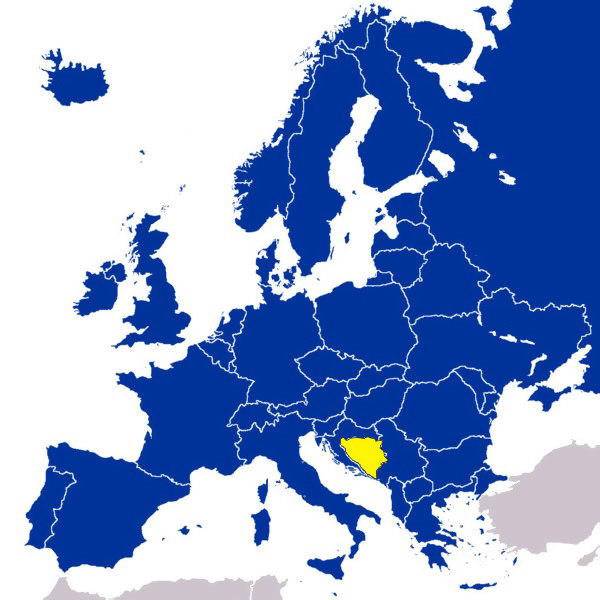 Bosnia and Herzegovina on map of Europe.