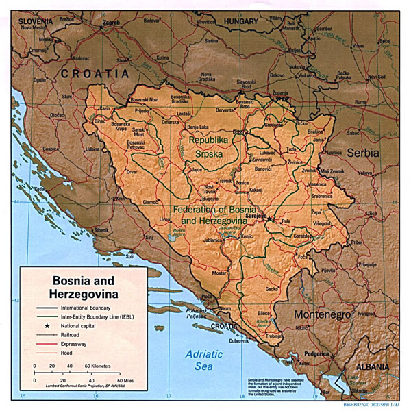 Detailed political and administrative map of Bosnia and Herzegovina with relief - 1997.