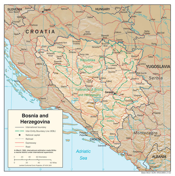 Large detailed political and administrative map of Bosnia and Herzegovina with relief.