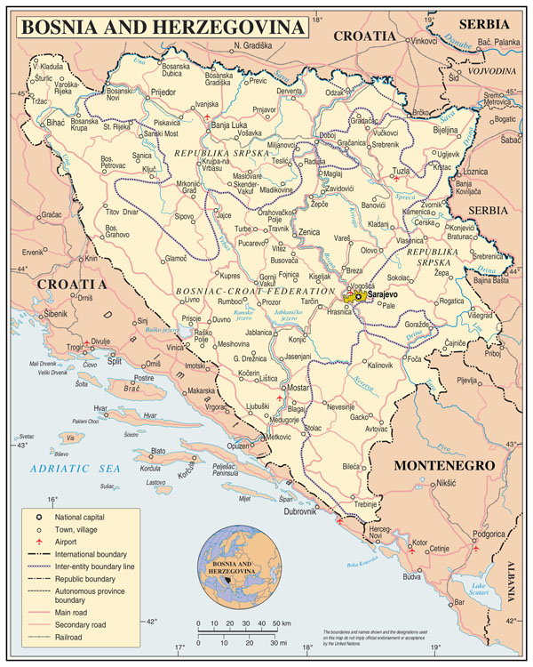 Large detailed political and administrative map of Bosnia and Herzegovina with roads, cities and airports.
