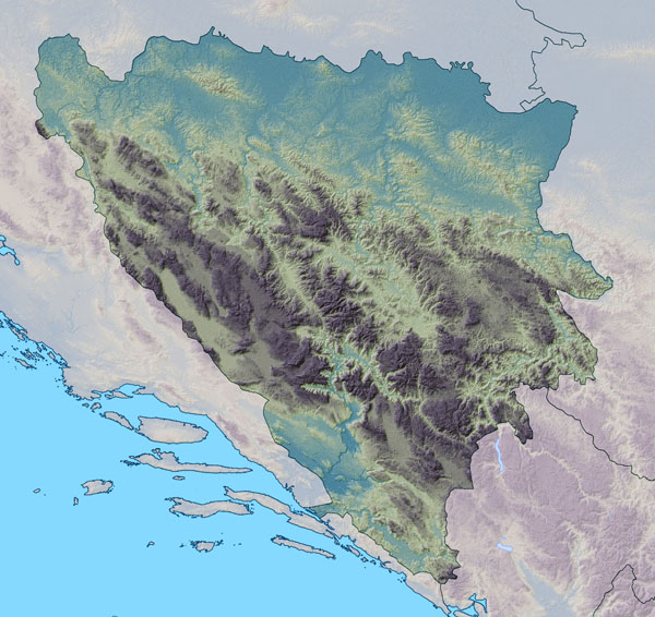 Large detailed relief map of Bosnia and Herzegovina.