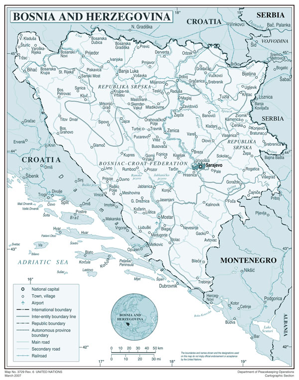 Large political and administrative map of Bosnia and Herzegovina with roads, cities and airports.