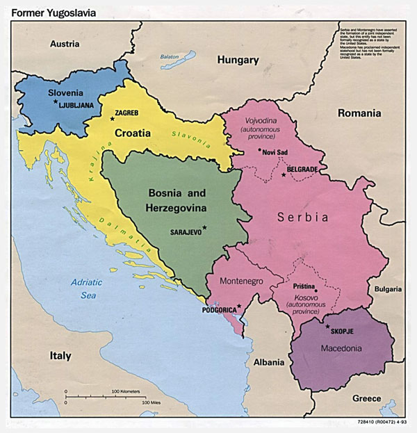 Political map of former Yugoslavia - 1993.