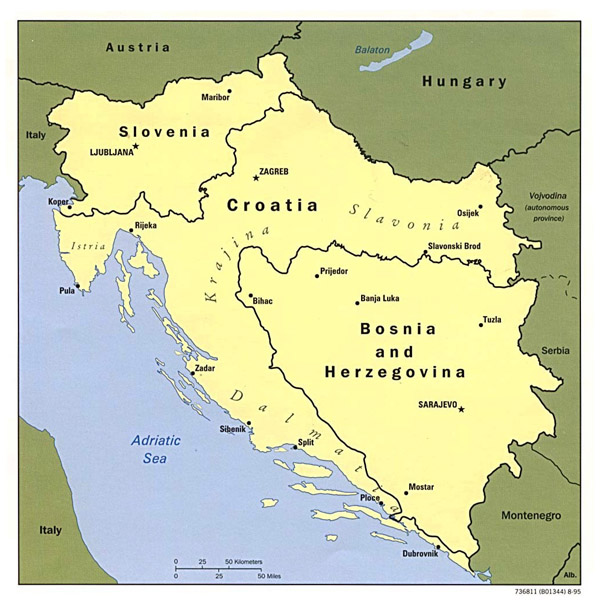 Political map of Yugoslavia - 1995.