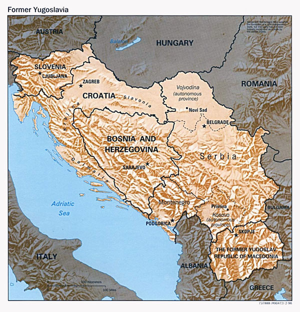 Political map of Yugoslavia with relief - 1996.