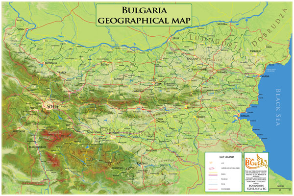 Detailed geographic map of Bulgaria. Bulgaria detailed geographic map.