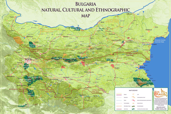 Detailed nature parks map of Bulgaria. Bulgaria detailed nature parks map.