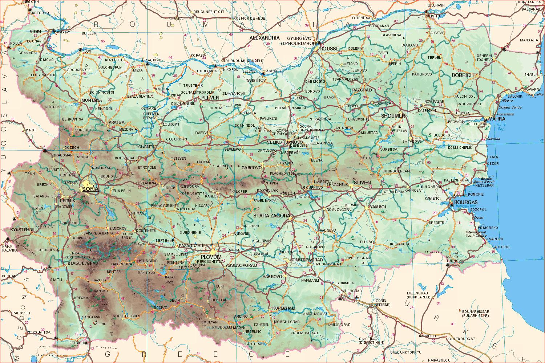 Detailed Road Map Of Bulgaria Bulgaria Detailed Road Map
