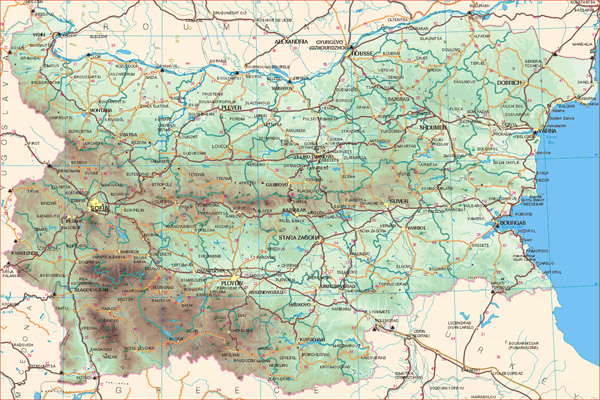 Detailed road map of Bulgaria. Bulgaria detailed road map.