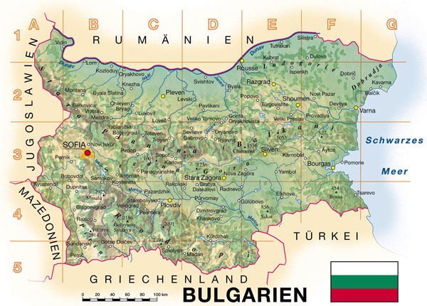 Detailed topographical map of Bulgaria.