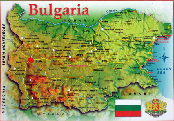 Detailed travel map of Bulgaria. Bulgaria detailed travel map.
