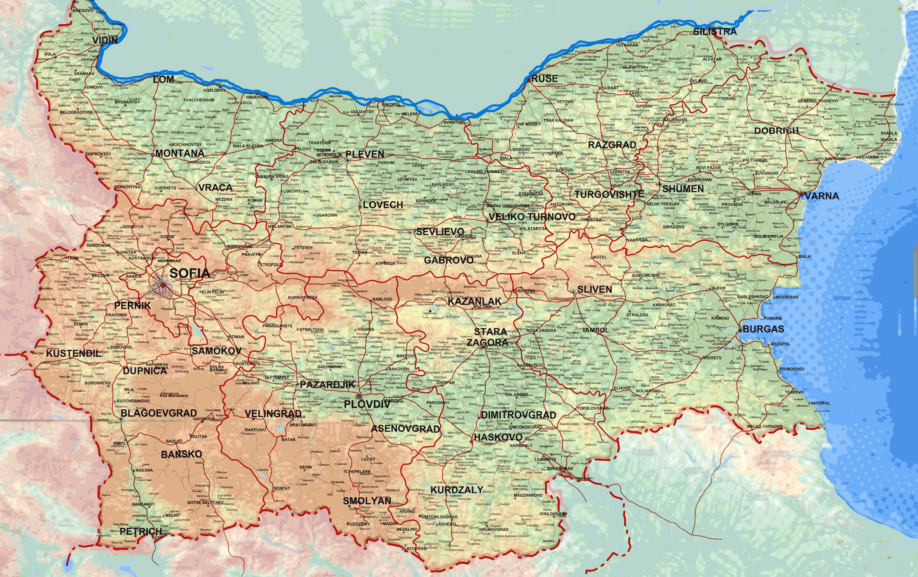 Large detailed elevation map of Bulgaria with all roads and cities