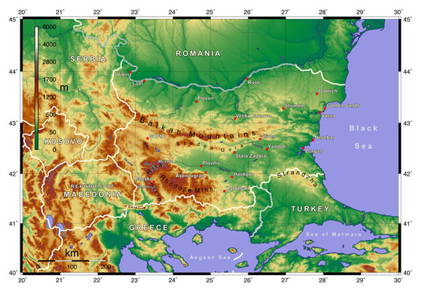 Large detailed physical map of Bulgaria. Bulgaria large detailed physical map.