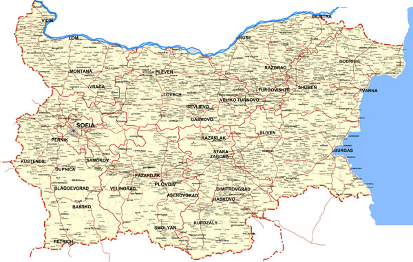 Large detailed roads map of Bulgaria with all cities.