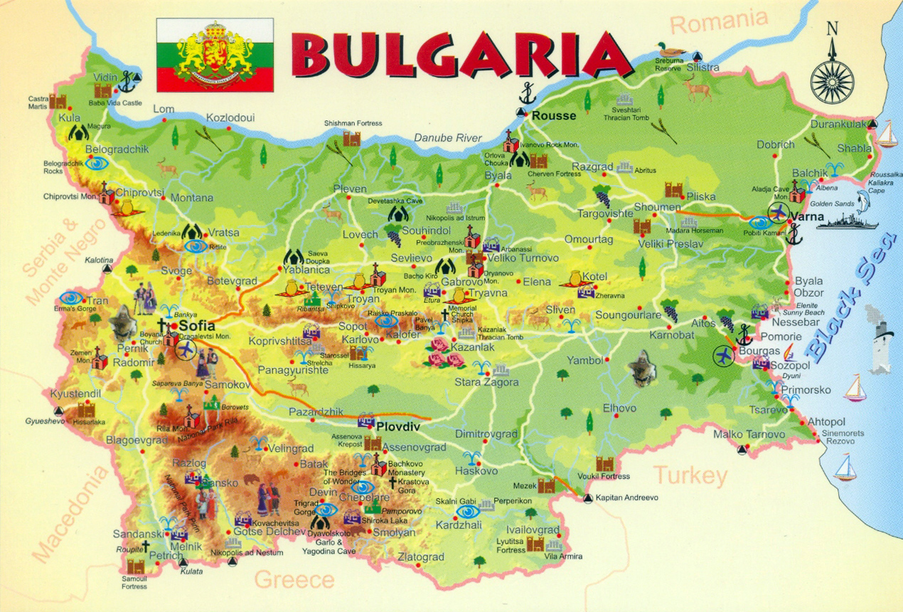 Large tourist map of Bulgaria Bulgaria large tourist map Vidiani