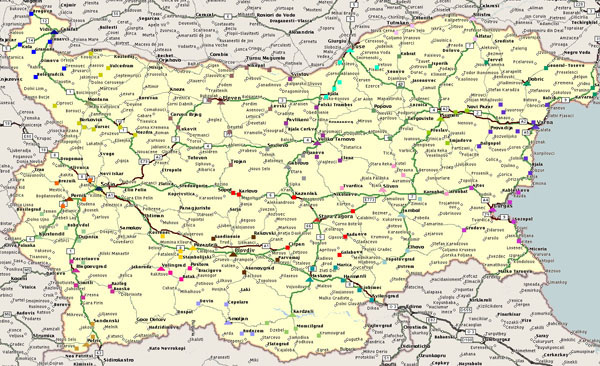 Road map of Bulgaria. Bulgaria road map.