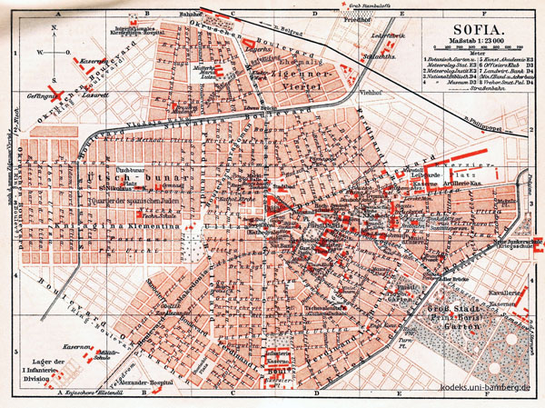 Large detailed old map of Sofia city - 1908.