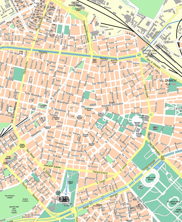 Large detailed road map of central part of Sofia city.