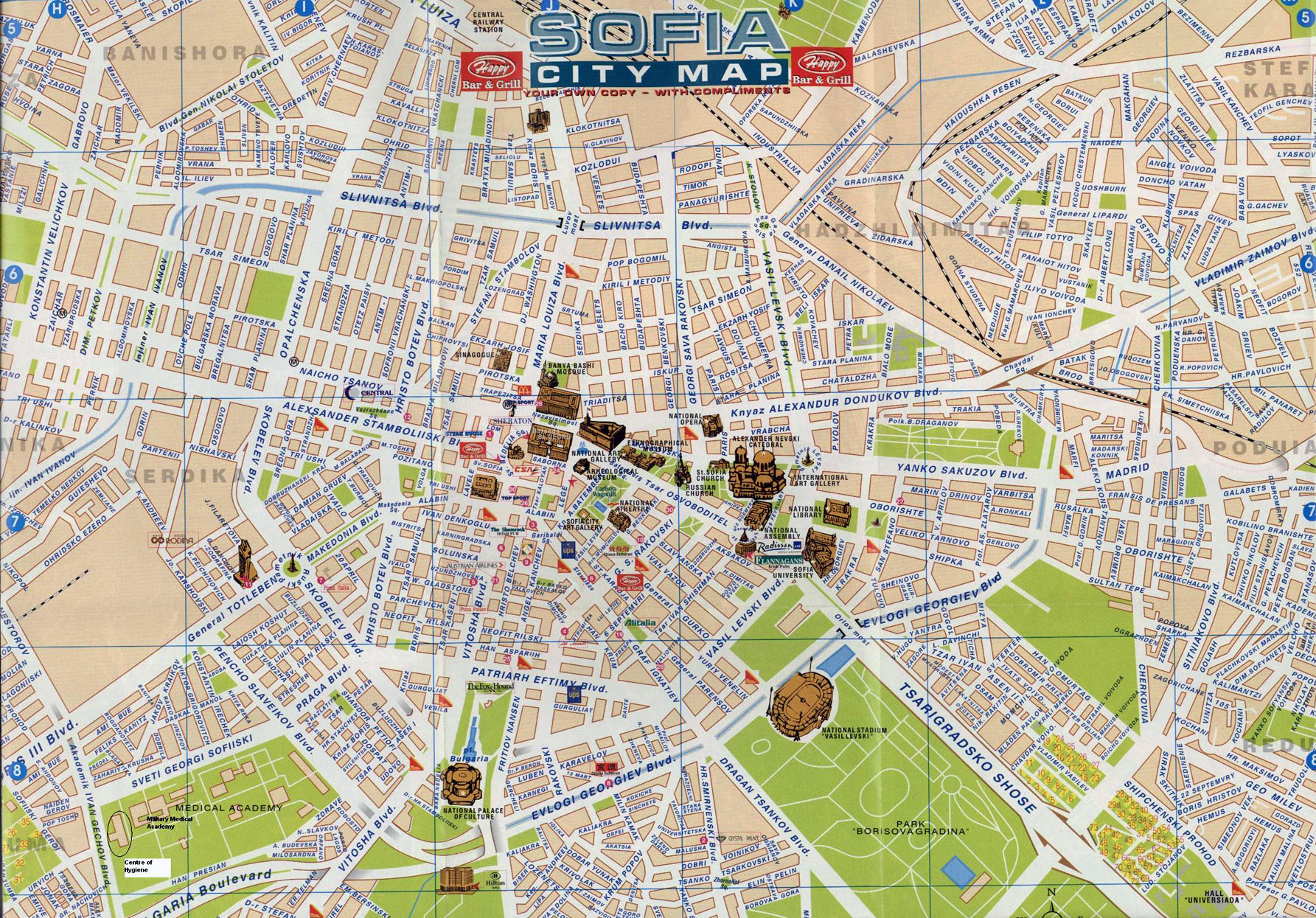 Large Detailed Tourist Map Of Central Part Of Sofia Vidiani Com