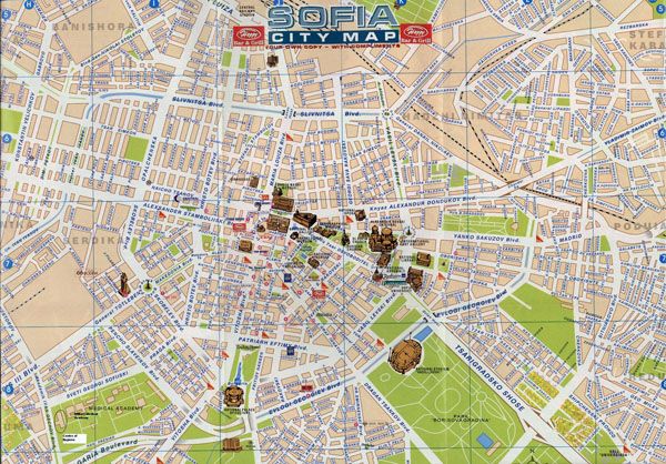 Large detailed tourist map of central part of Sofia.