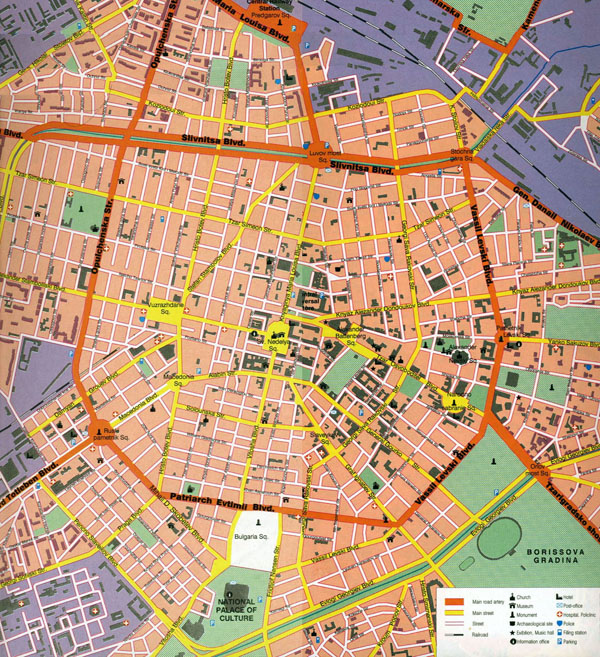 Large detailed tourist map of central part of Sofia city.