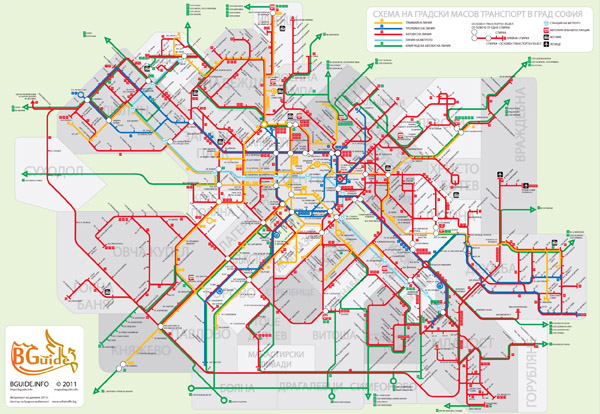 Large public transport map of Sofia city.