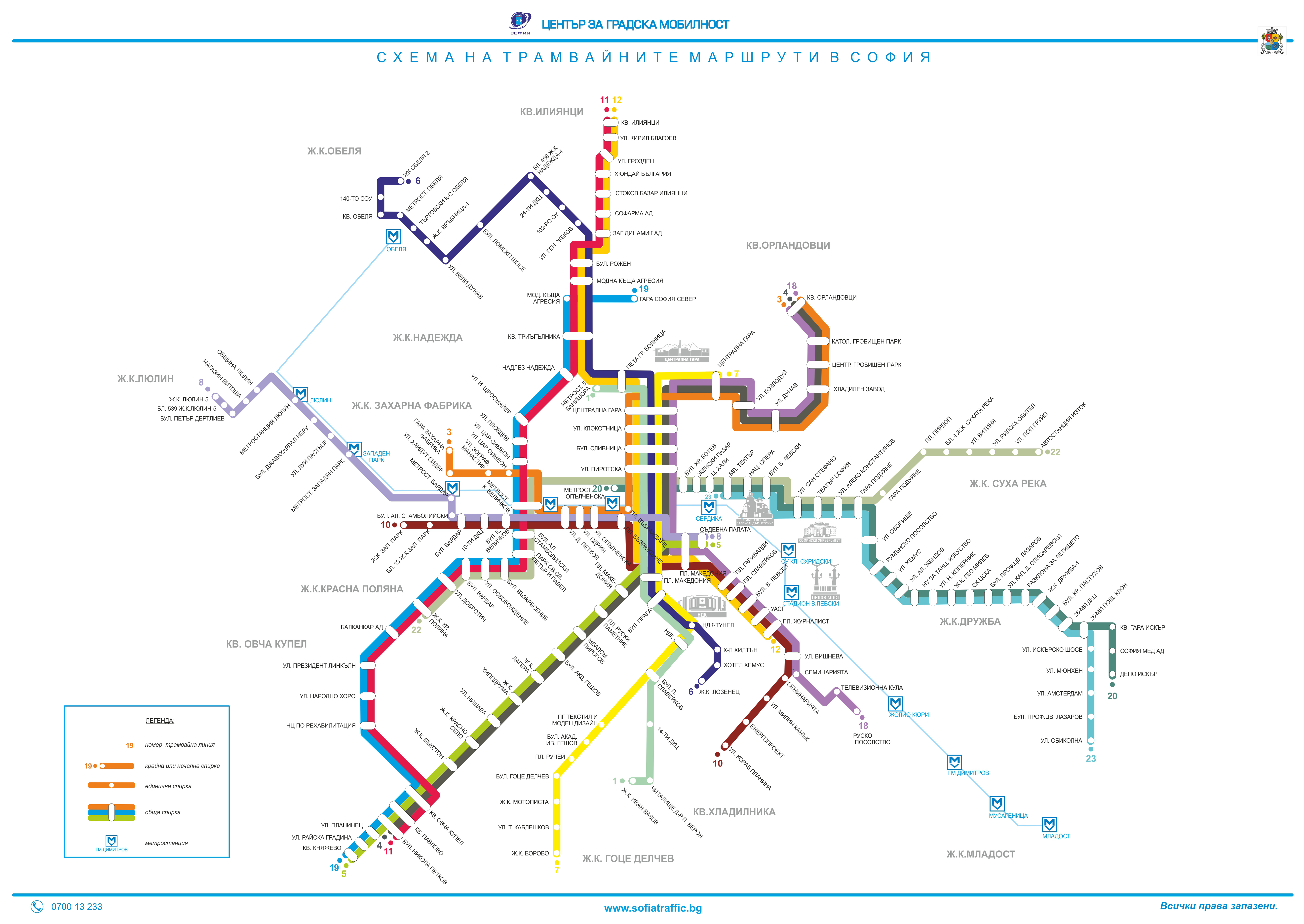 Схема метро и трамваев в софии