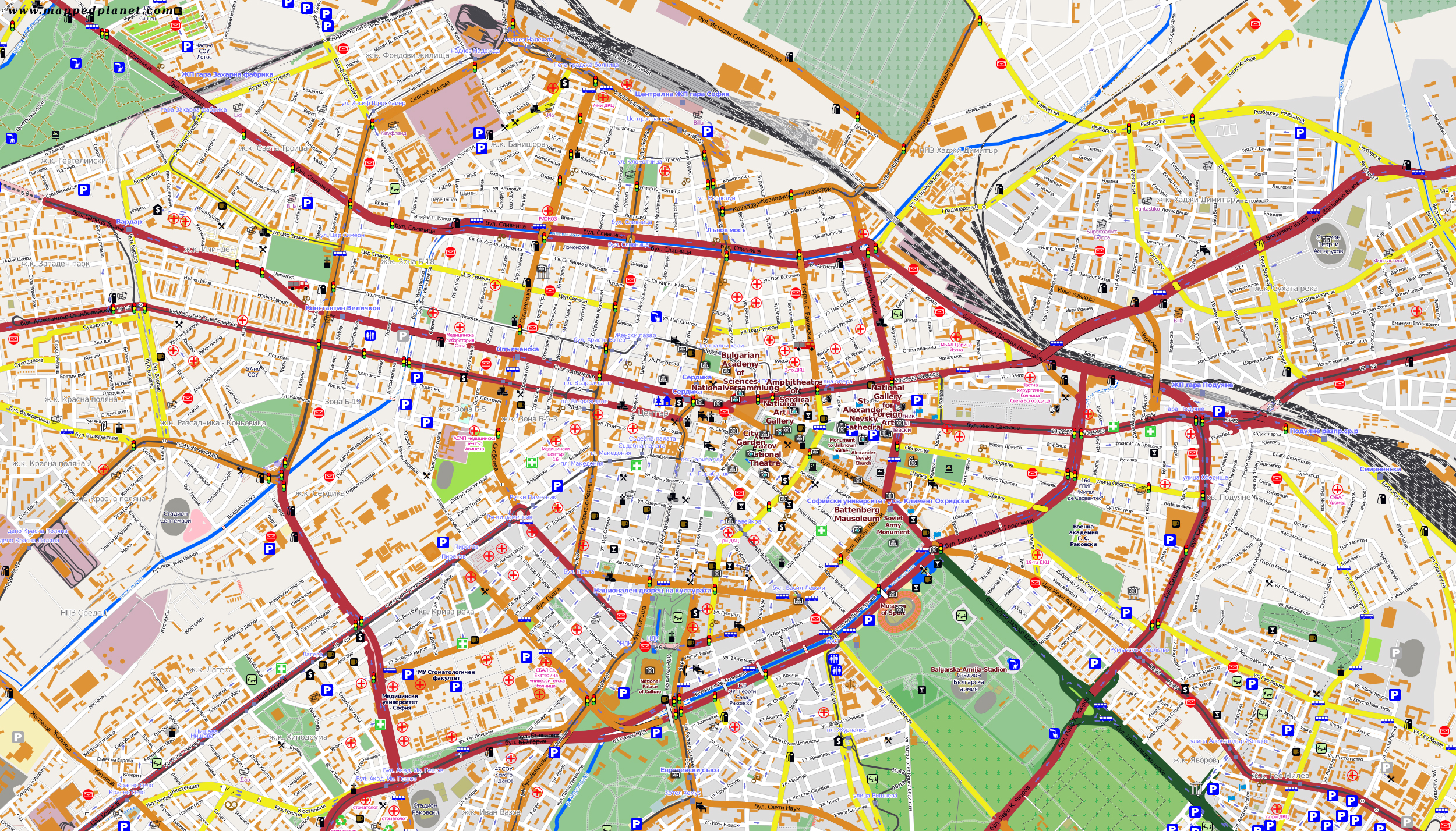 Large tourist map of Sofia city Sofia large tourist map Vidiani