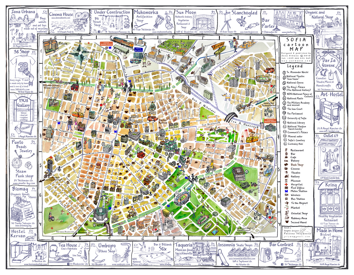 Tourist illustrated map of Sofia city Vidianicom Maps of all