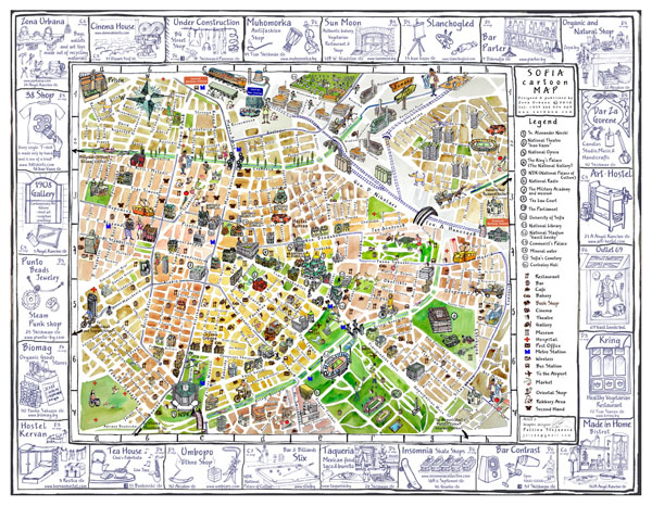 Tourist illustrated map of Sofia city.