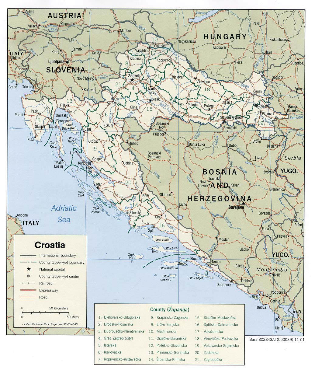 Croatia Map - Detailed Administrative Map Of Croatia
