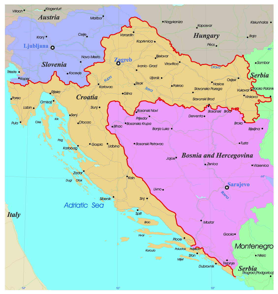 Detailed administrative map of Croatia with roads and major cities ...